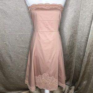 Odille Pink Blush Lace Ribbon Strapless Dress Sz 8